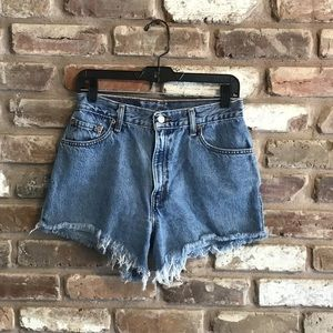 LEVI'S 550 High Waist Cut Off Jeans Frayed Shorts